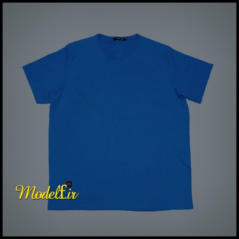تیشرت آبی ساده سایز بزرگ