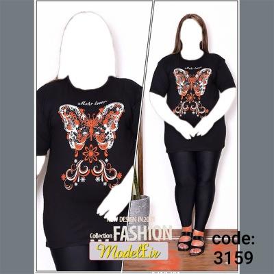 تیشرت زنانه سایز بزرگ پروانه
